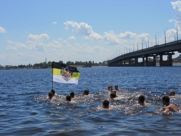 swimmers with flag